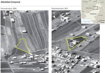 Satellite imagery of Bin Laden&#8217;s Abbottabad compound in 2004 and 2011.